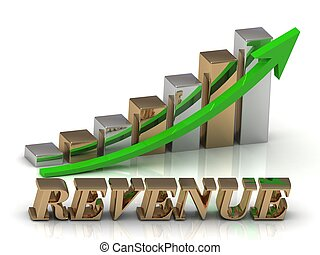 REVENUE- inscription of gold letters and Graphic growth and...