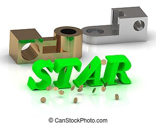 STAR- words of color letters and silver details and bronze...