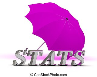 STATS- inscription of silver letters and umbrella on white...