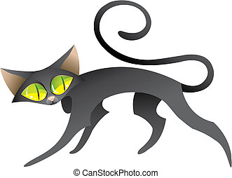 Black Cat - Black shy cat look around him in search of...
