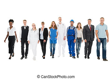 Confident People With Various Occupations Walking In Row -...