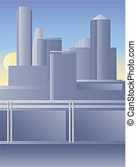 City - View of the modern city in pale colors. Vector color...
