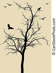 tree with birds, vector - black tree silhouette with eagles,...