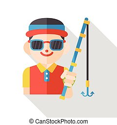 fishing fisherman flat icon