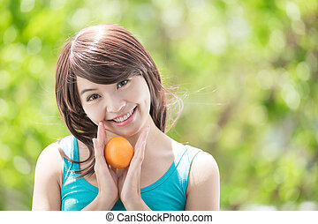 young health woman with orange