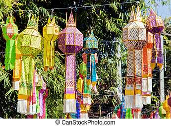 paper lantern in lanna-style in new year celebrate