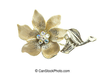flower brooches on white background