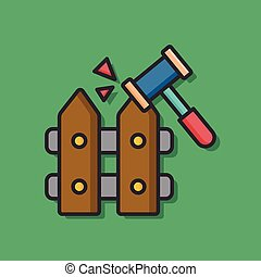 emergency fence vector icon