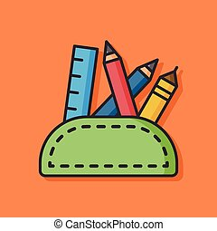 pencil case vector icon