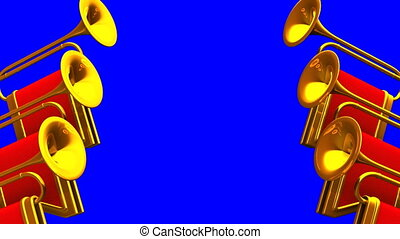 Fanfare On Blue Chroma key Background Loop able 3D render...