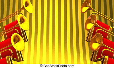 Fanfare On Gold Background Loop able 3D render Animation