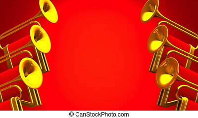 Fanfare On Red Background Loop able 3D render Animation