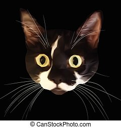 Staring cat head with big eyes and triangular style -...