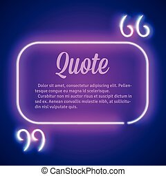 Retro neon glowing quote marks frame