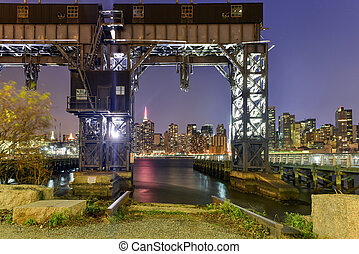 Long Island City, New York - Pier of Long Island near Gantry...