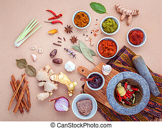 Assortment of Thai food Cooking ingredients and Paste of...