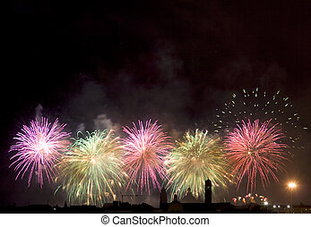 Firework celebration Redentore Venice, Italy