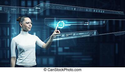 Girl working with virtual screen