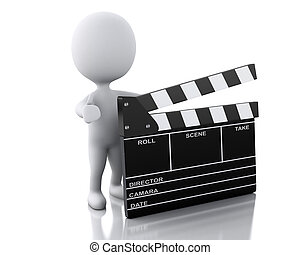 3d white person standing next to movie clapper. - 3d...
