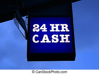 24 HR Cash Sign - direction to a cash machine, ATM, ABM,...