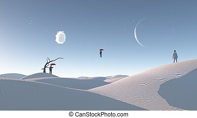 Man Floats in mid air in surreal desert landscape observed...