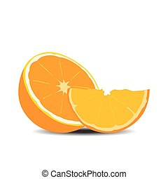 Half orange fruit on white background