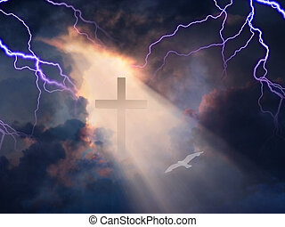 Cross in Sky with White Bird and Lightning All Around