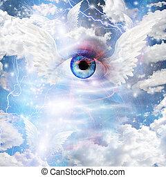 winged, olho,