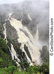 Barron Falls is a tiered cascade waterfall on the Barron...