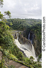 Barron Falls in the wet a - Barron Falls is a tiered cascade...
