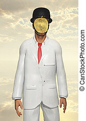 Man in white suit with face hidden by mettalic apple