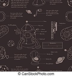 Rocket plan seamless pattern - Vector illustration of a...