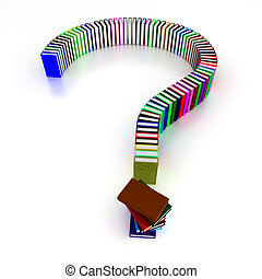 colorful question mark of books - 3d question mark of books...