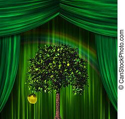 árvore, e, maçã, antes de, cortinas,