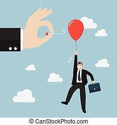 Hand pushing needle to pop the balloon of rival Business...