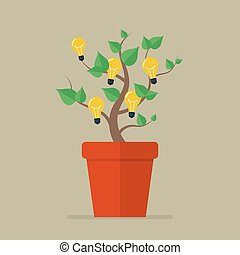 Plant with light bulb idea flat icon Vector Illustration