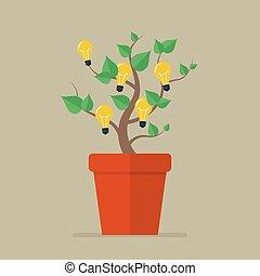 Plant with light bulb idea flat icon Vector Illustration