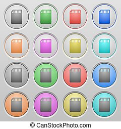 SD card plastic sunk buttons - Set of SD card plastic sunk...