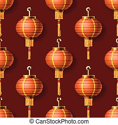 Oriental Chinese New Year lanterns, seamless pattern, vector illustration.
