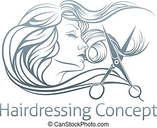 Woman Hairdresser Scissor Concept - An illustration of a...