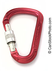 Carabiner lock - Red alpinist carabiner isolated on white...