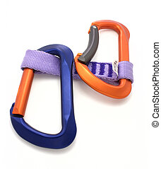 Carabiner and express - carabiner and express isolated on...