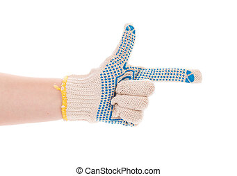 Protective glove with blue circles Isolated on a white...