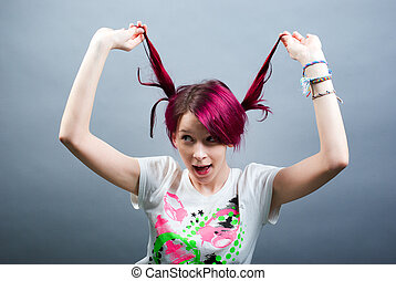 crazy emo girl - crazy bizarre pink hair emo girl