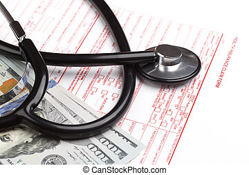 health insurance claim form with stethoskop