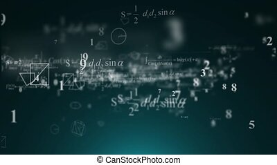 Mathematical formulas fly. The numbers, mathematical...