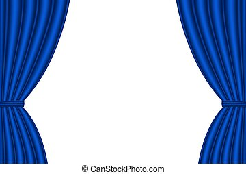 Blue curtain opened on white background. Vector...