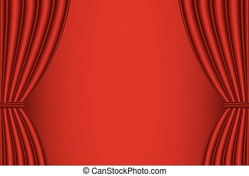 Red curtain opened - Red curtain opened with red background...