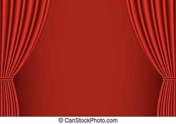 Red curtain opened . - Red curtain opened with red...
