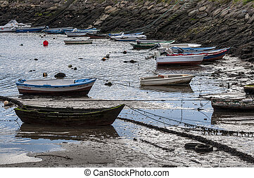 Fishing boats in Domaio port, Pontevedra, Spain on July 12,...